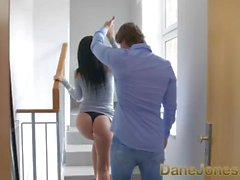 Dane Jones Long legs high heels raven hair temptress orgasms on thick cock