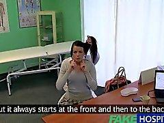 Fake Hospital Stiff neck followed by a big stiff cock as fucked on doctors desk